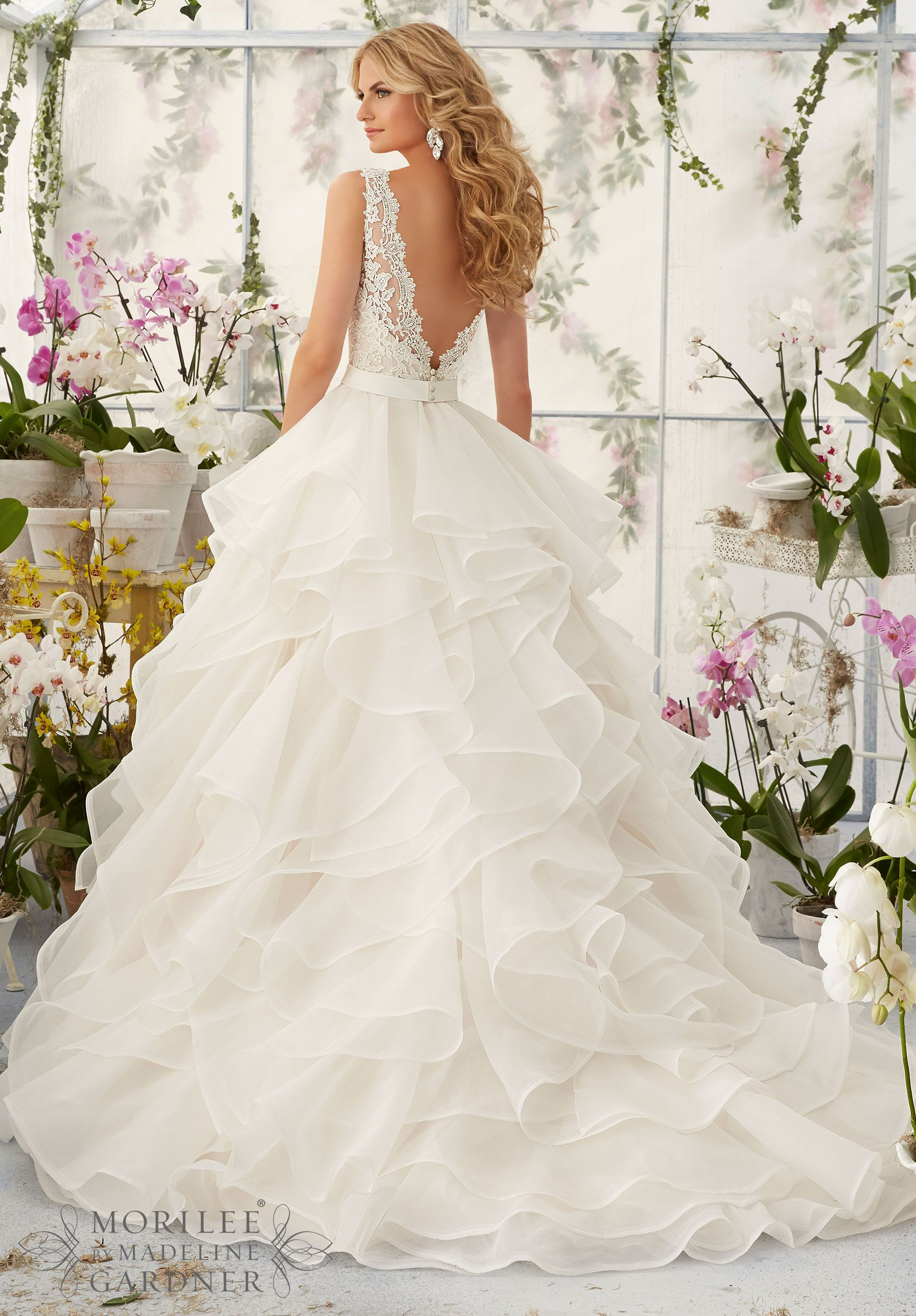 Wedding Dress 2805 Venice Lace Appliques Sprinkled with Delicate Beading  onto the Flounced Organza Skirt