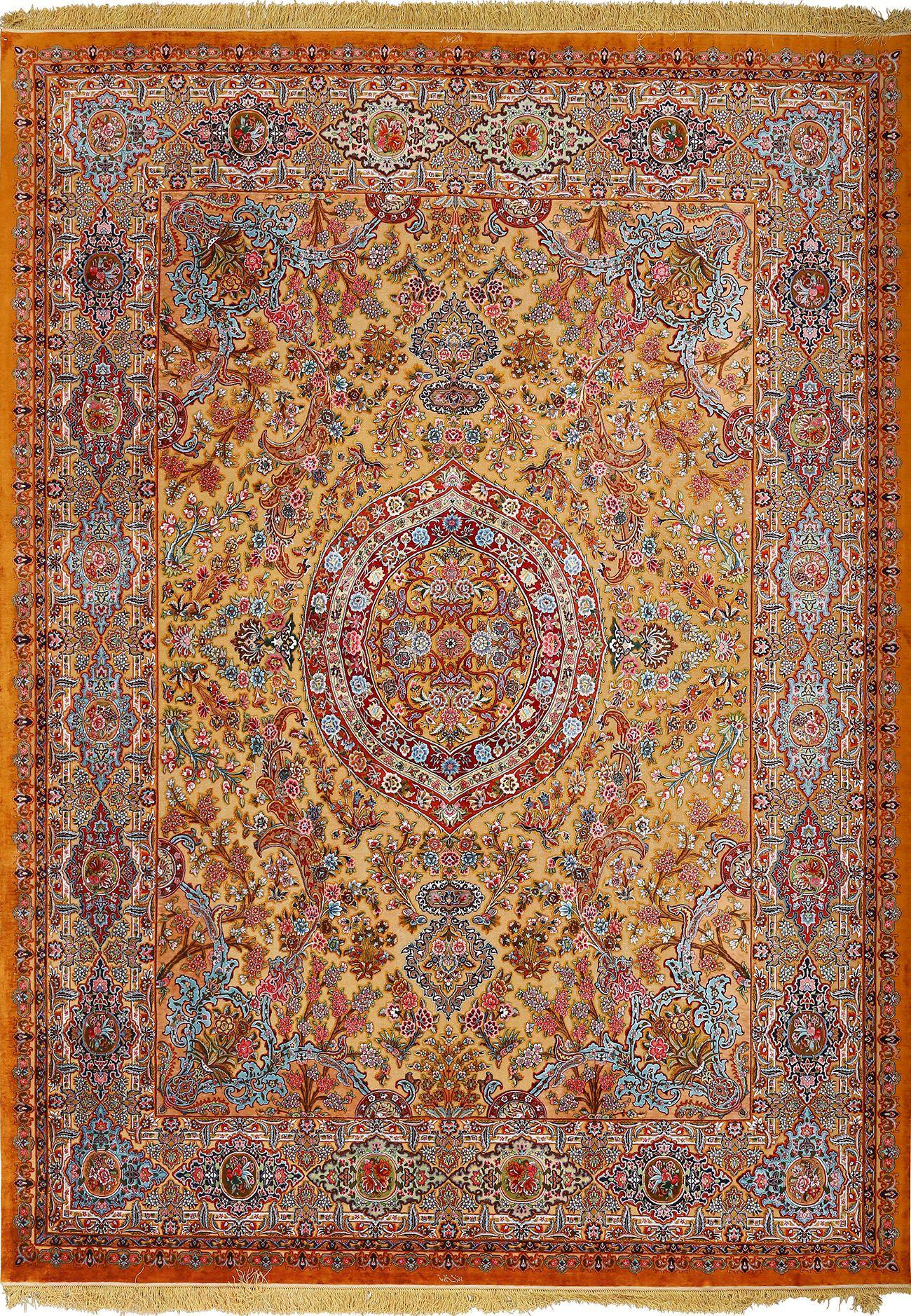 Fine Silk And Gold Thread Vintage Tabriz Persian Rug 51055 Nazmiyal Halilar Hali Antika
