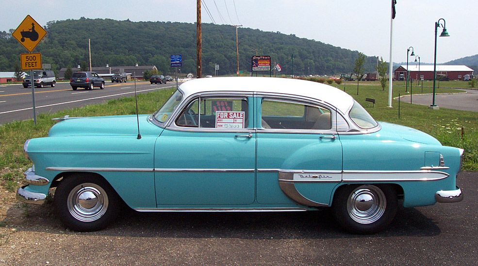 1953 Chevrolet Bel Air Blue White 4 Door Sedan Chevrolet Bel Air Chevy Bel Air Chevrolet