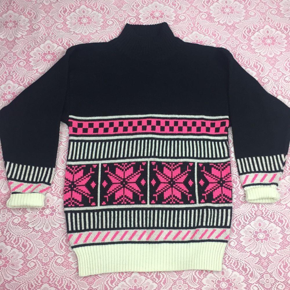 Profile VTG 90s Holiday Sweater Pink Snowflake Geometric Print ...