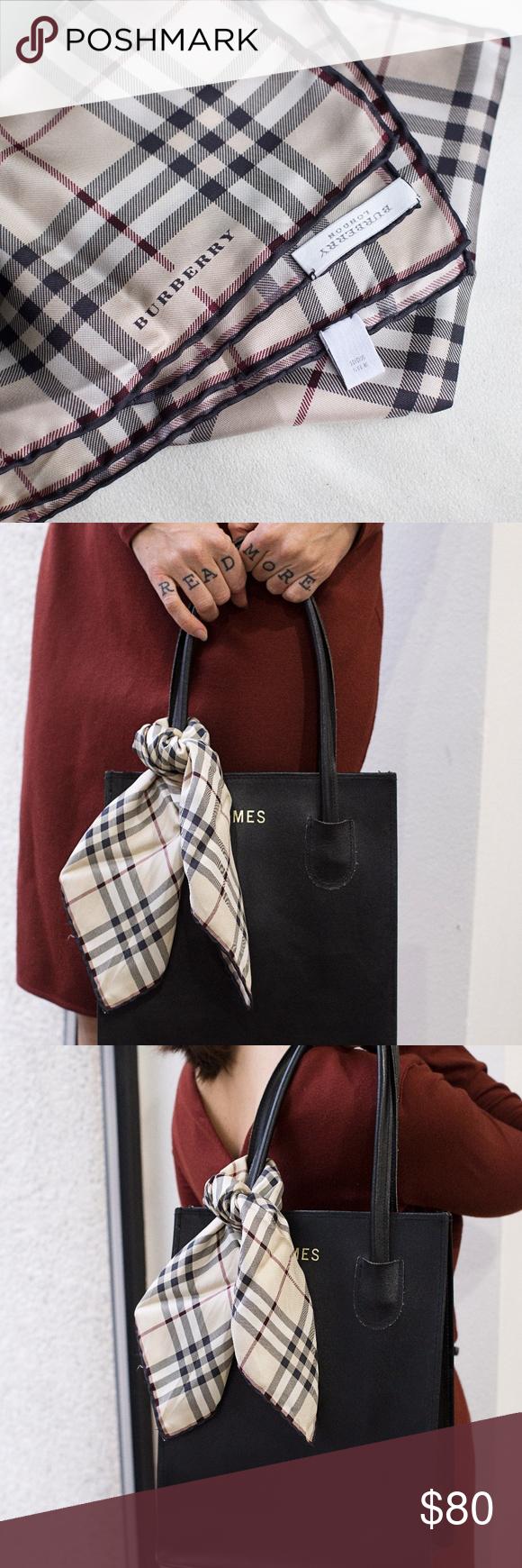 Burberry 100 Silk Scarf Handkerchief Scarf Accessory Clothes Design Fashion Tips