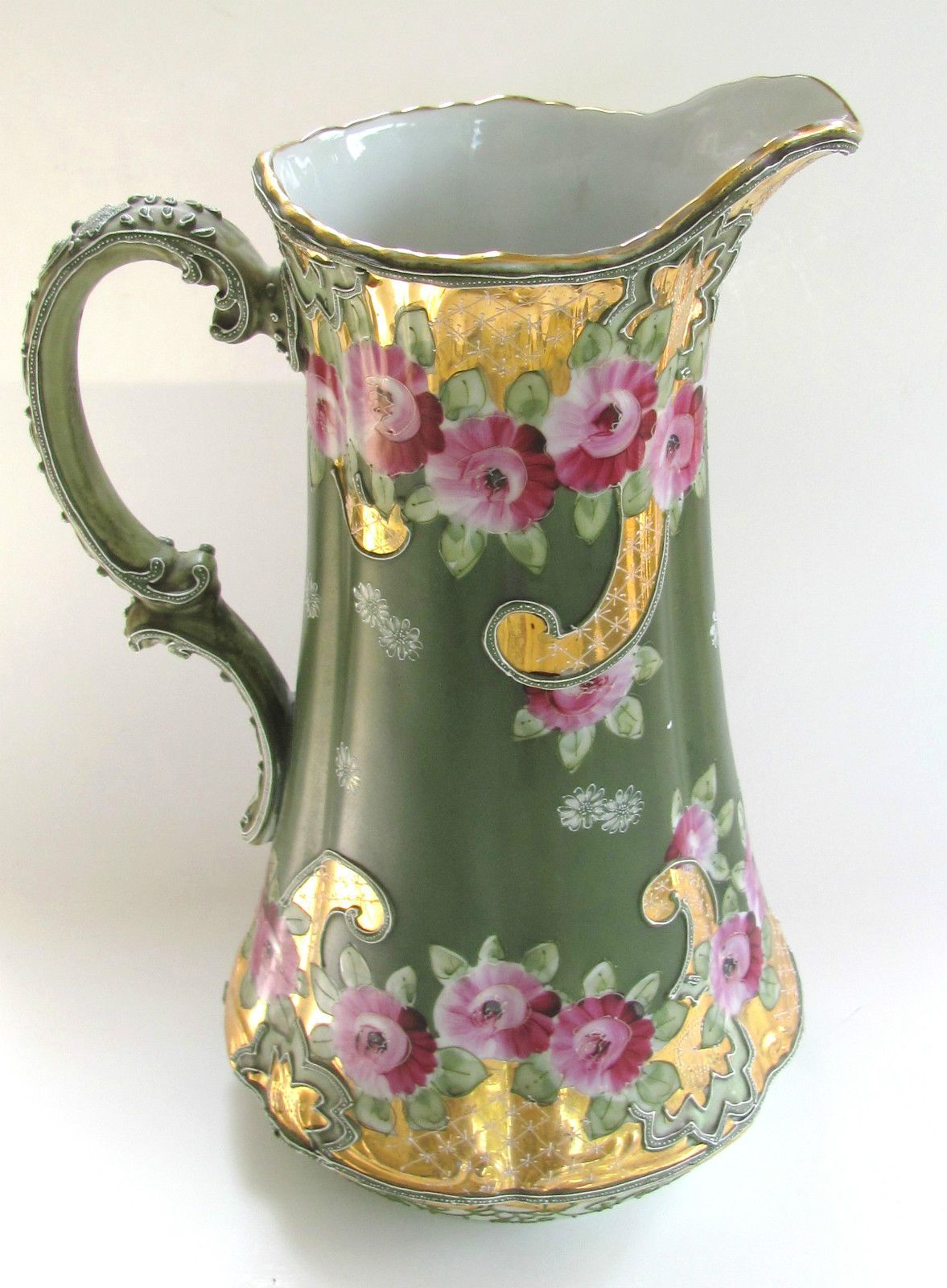 Antique 11 nippon moriage hand painted porcelain pitcher roses antique 11 nippon moriage hand painted porcelain pitcher roses tankard ca1900 reviewsmspy