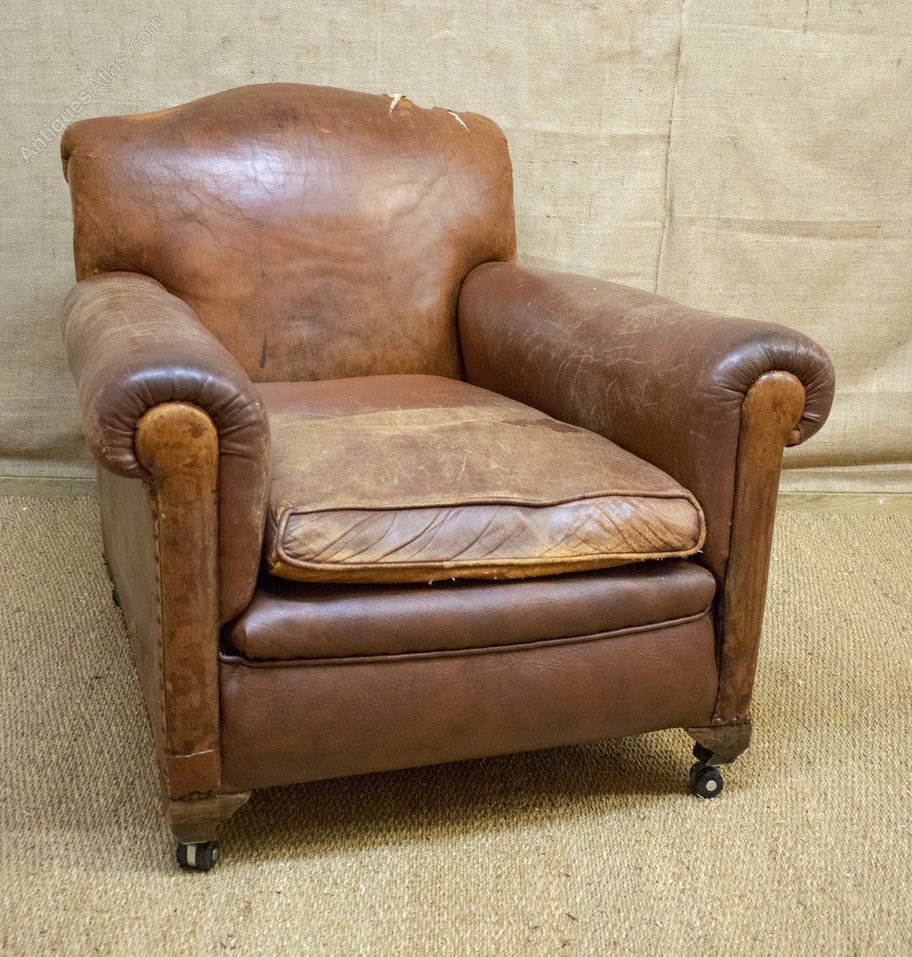 Pleasing Antique Leather Club Chair Deep Seat Brown Antiques Cjindustries Chair Design For Home Cjindustriesco