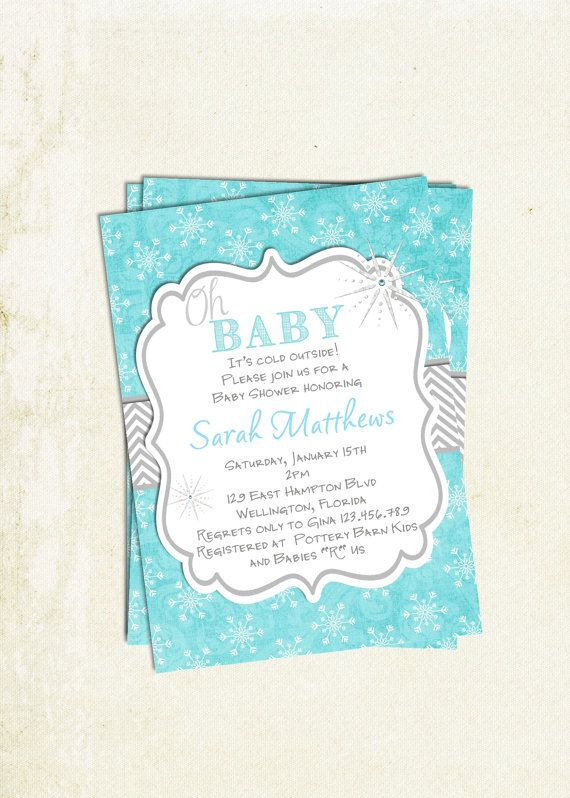 Oh Baby Winter Baby Shower Invitation Printable Design On Etsy, $18.00