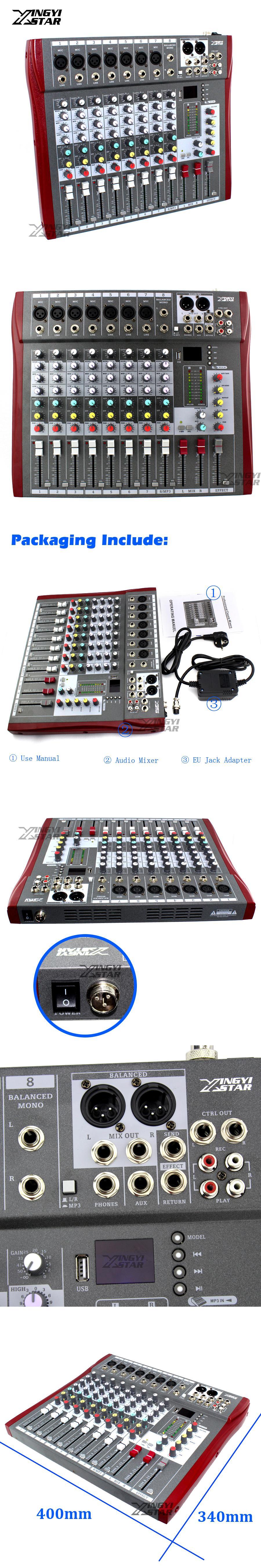 8 Channel Professional Audio Mixer Digital Dj Karaoke Mp3 Music Circuit Sound Usb Equipment Mixing Console 48v