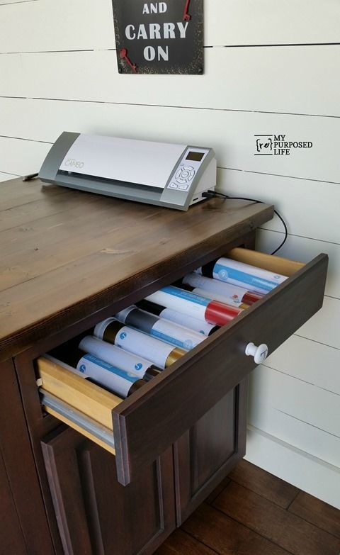 DIY Craft Table or Kitchen Island made from a kitchen cabinet DIY