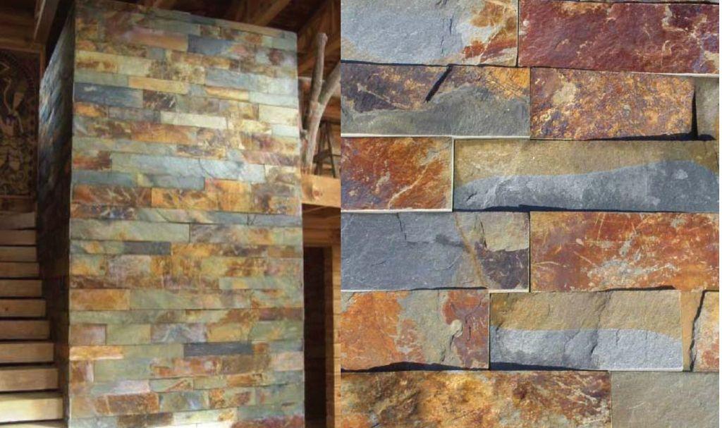 Piedra laja oxidada dimensionada la cantera materials - Pared interior de piedra ...