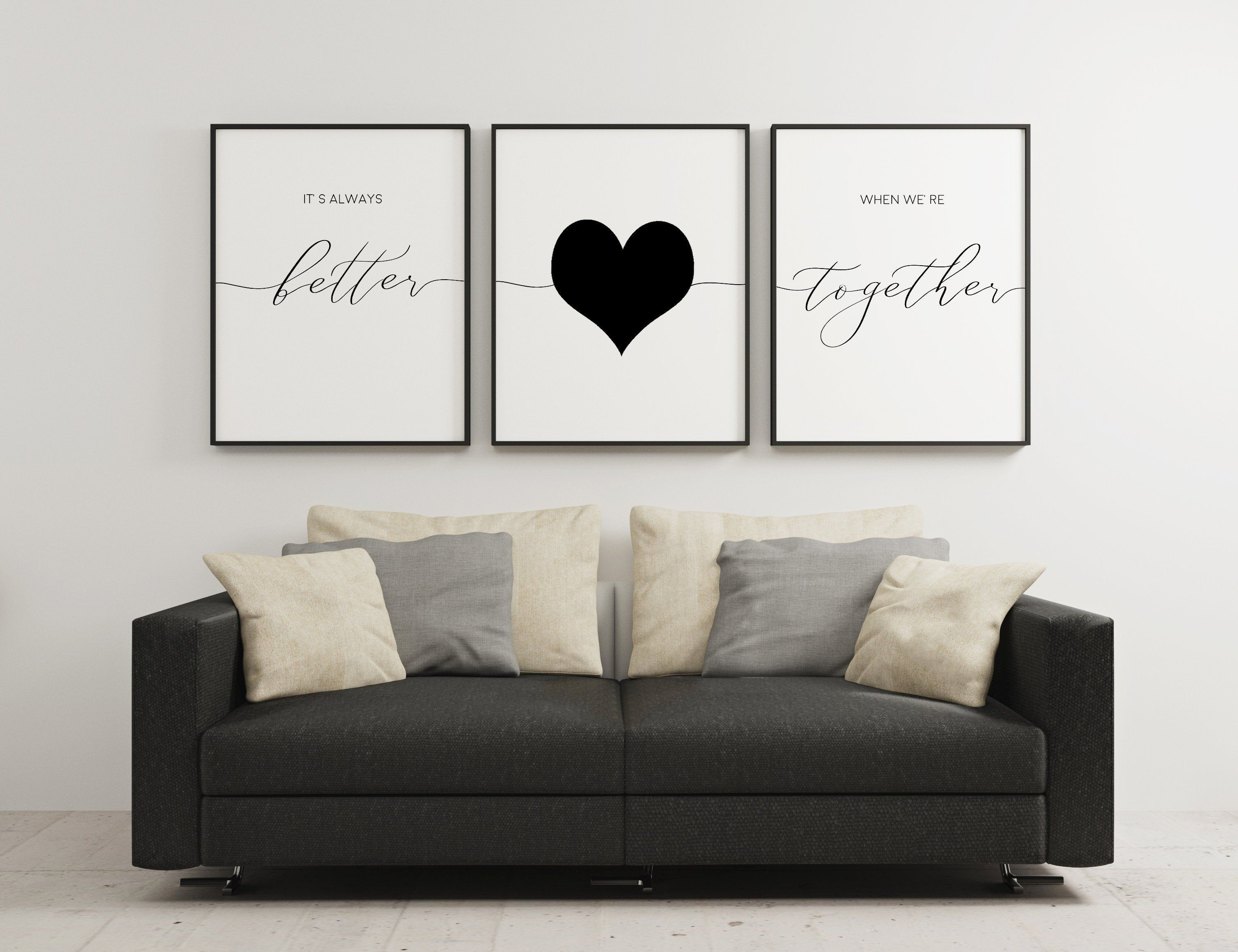 Set Of 3 Prints,It's Always Better When We're Together,Bedroom Art,Wedding Decor,Anniversary Gift,Couples Gifts,Heart Print,Digital Download