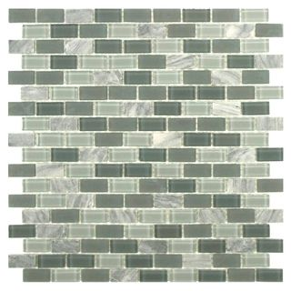 SomerTile 11.25x11.75 View Mini Subway Fortress Glass and Stone Mosaic Tile (Pack of 16)