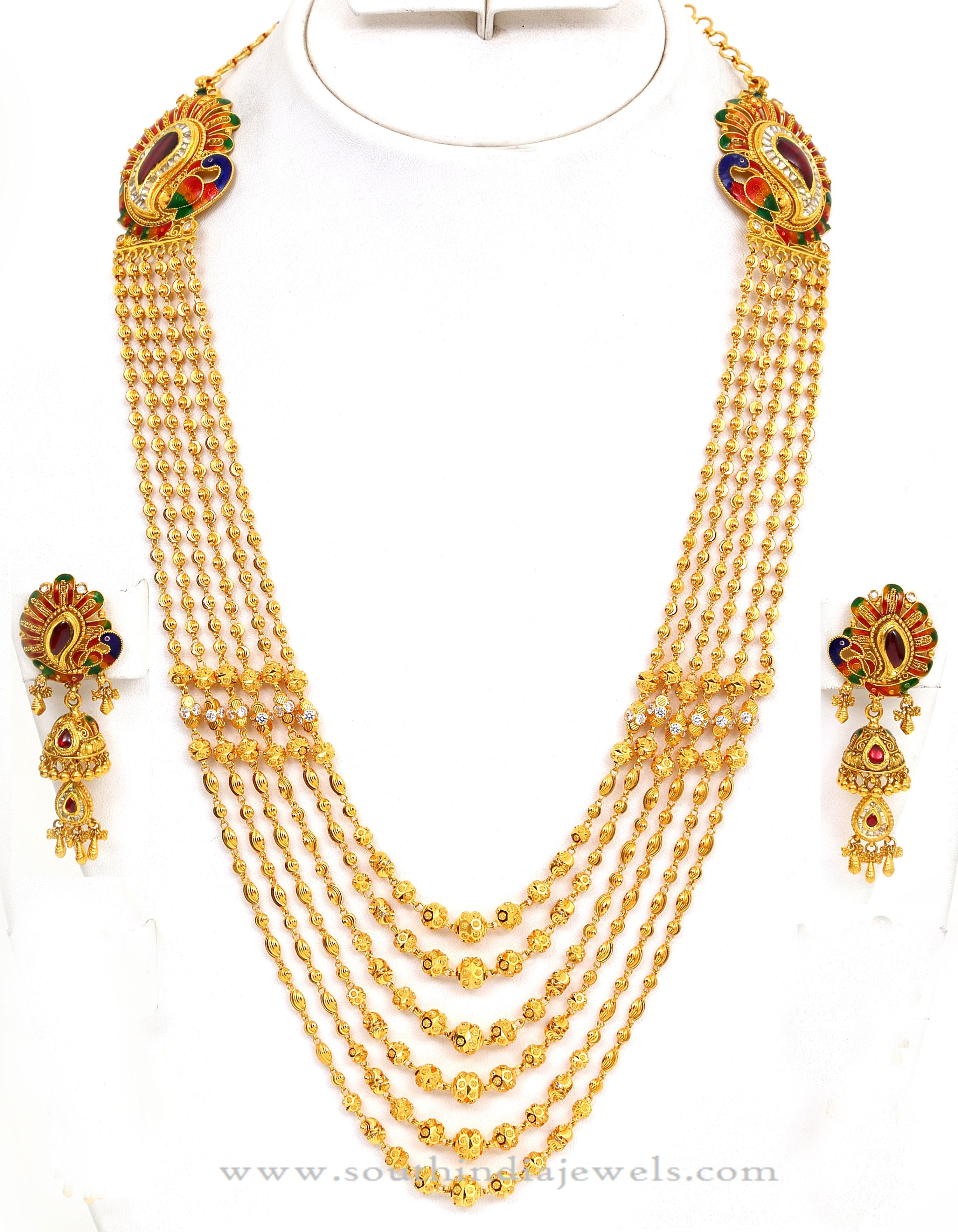 Latest gold necklace designs in grams pachi necklace latest jewellery - Gold Gundala Haram Designs Latest Model Gold Gundala Harams Gold Gundala Haram With Side