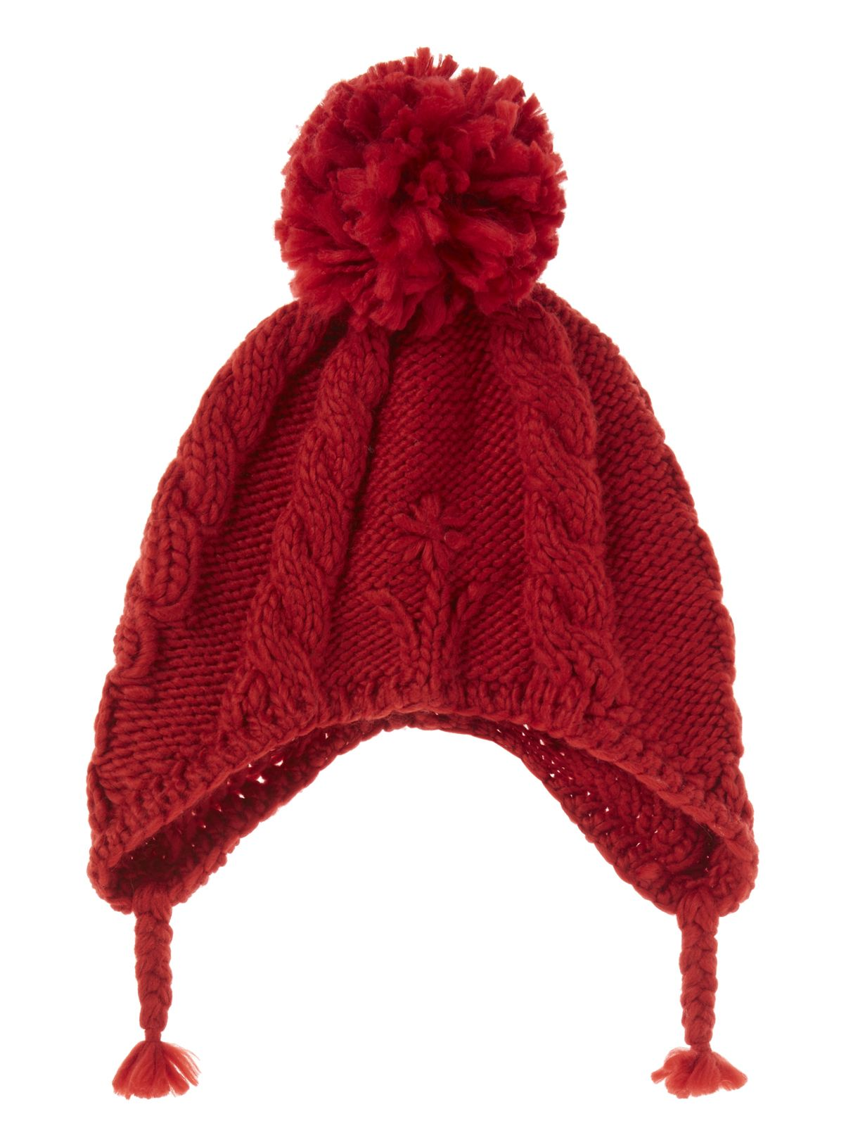 d25c5033 Boost her winter essentials with this red cable knit hat, designed in a  trapper style with a pom pom bobble. Girls red flower trapper hat Cable  knit Pom pom ...