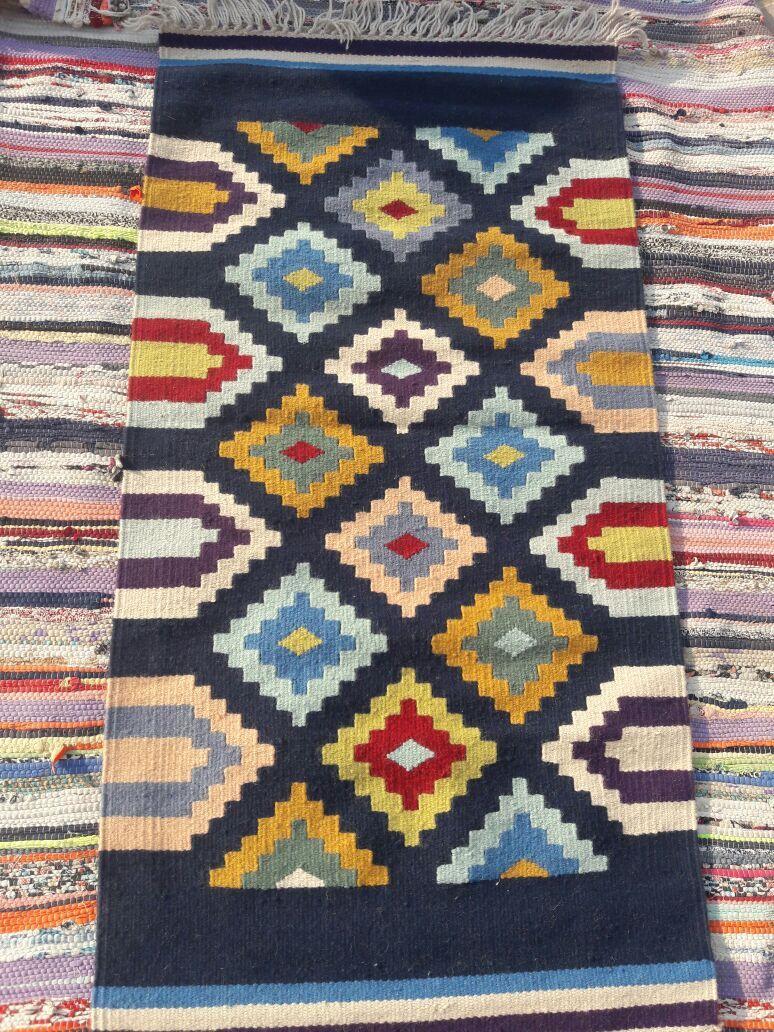 سجادة عربي كليم يدوى رمادى فى الوان هاندميد من الصوف Crochet Blanket Blanket Crochet