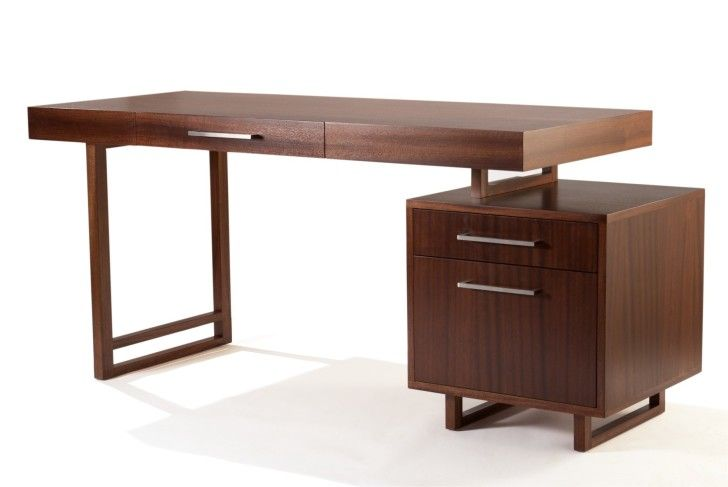 Furniture Rectangle Brown Wooden Desk With Cube Storage Having
