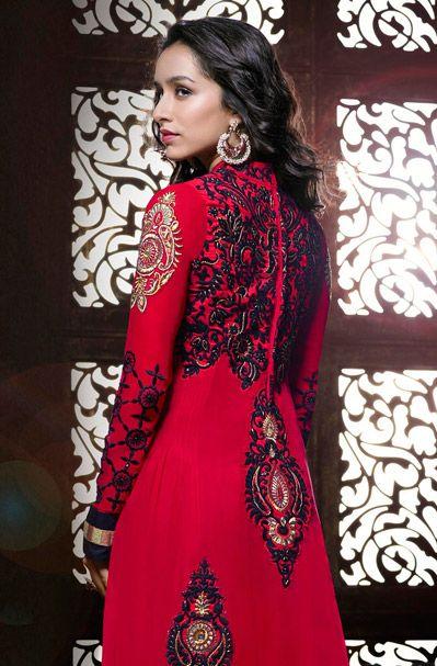 891fabc34646 USD 146.88 Shraddha Kapoor Red Butta Work Designer Suit 38903