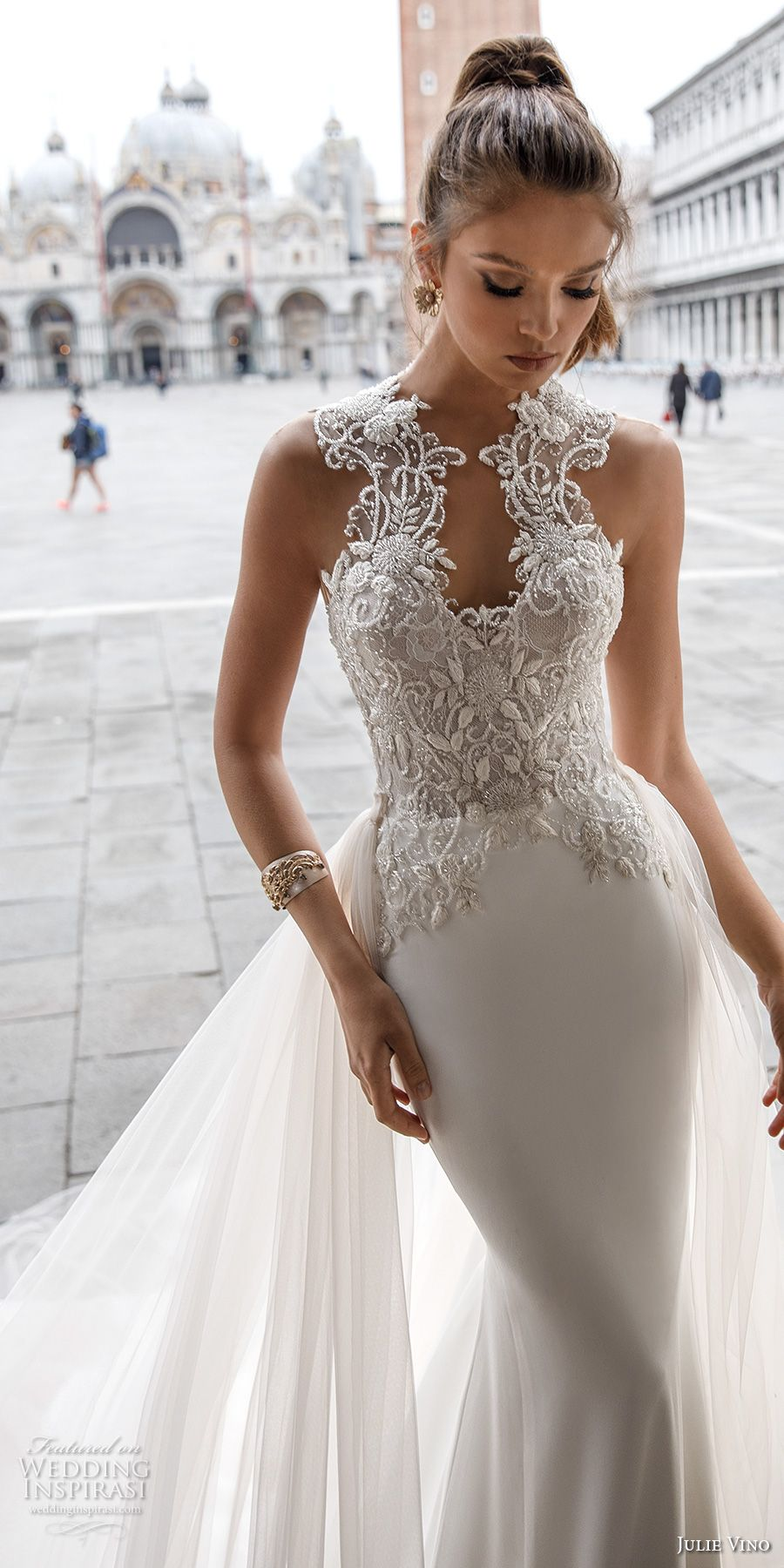julie vino spring 2018 bridal sleeveless halter sweetheart neckline heavily embellished bodice elegant glamorous fit and flare wedding dress a  line overskirt open scoop back chapel train (15) mv -- Julie Vino Spring 2018 Wedding Dresses