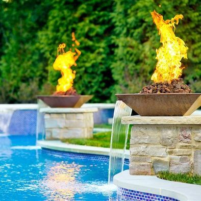 Customer Concrete Fire And Water Bowl Pool Waterfall Fire Pool