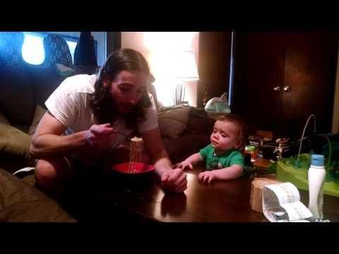 Baby Finds Daddy Eating Ramen Noodles Funny  - #funny #Baby #cute