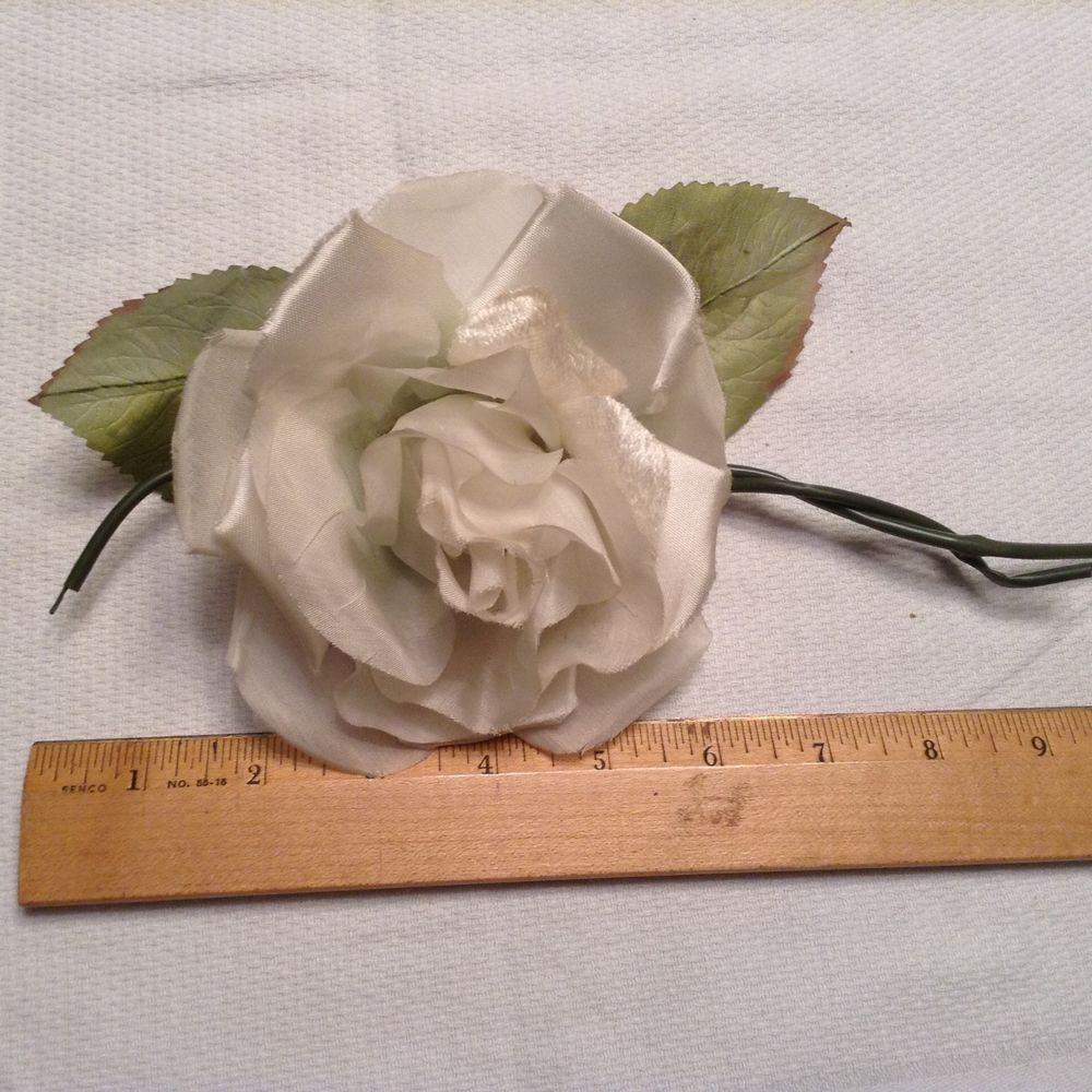 Vtg Millinery Flower Soft White Rose Velvet Silk Hat Doll Trim