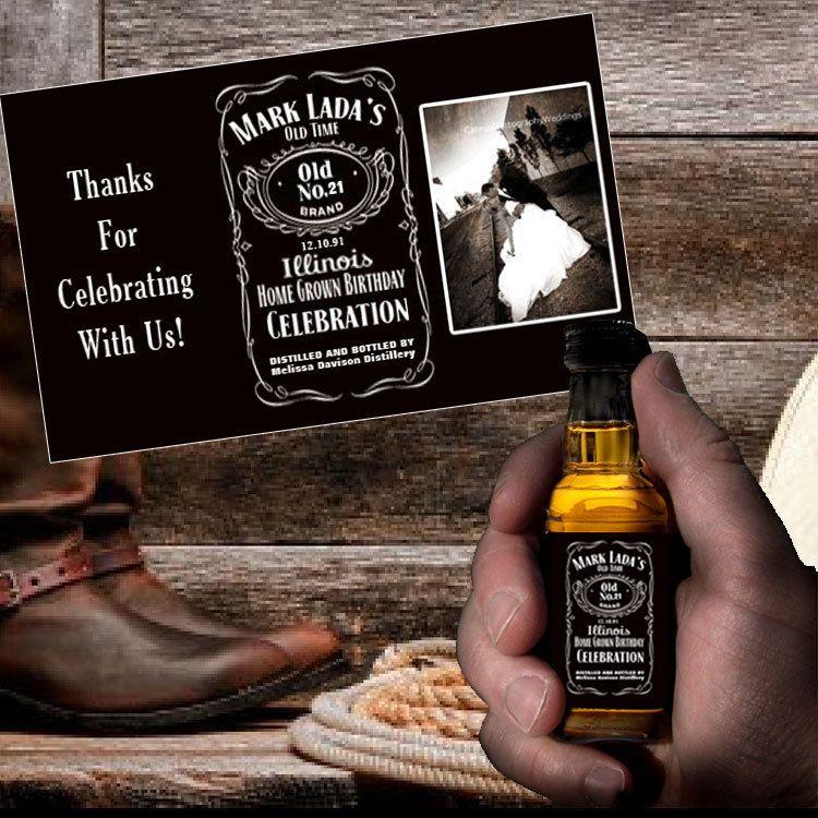 Custom Jack Daniels Mini Bottle Label PDF Wedding Favors Thank You ...