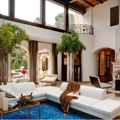 Tropical Living Room High Ceiling Design Pictures Remodel Decor