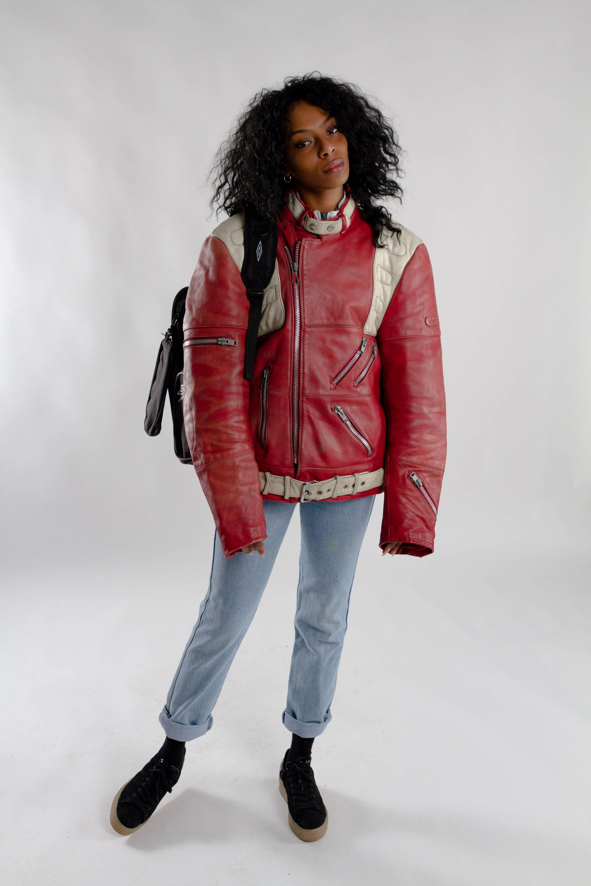 Red leather biker jacket / Vintage oversized moto biker
