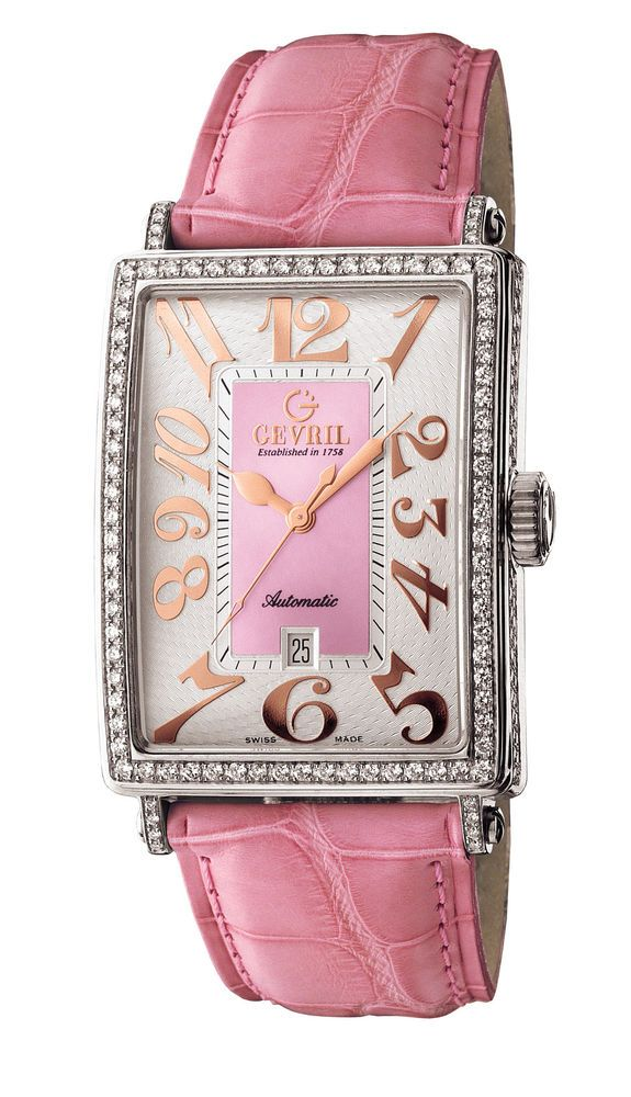 Image result for Gevril Avenue of Americas Glamour Womens Diamond Swiss Automatic Rectangle Pink Leather Strap Watch, (Model: 6208RV)