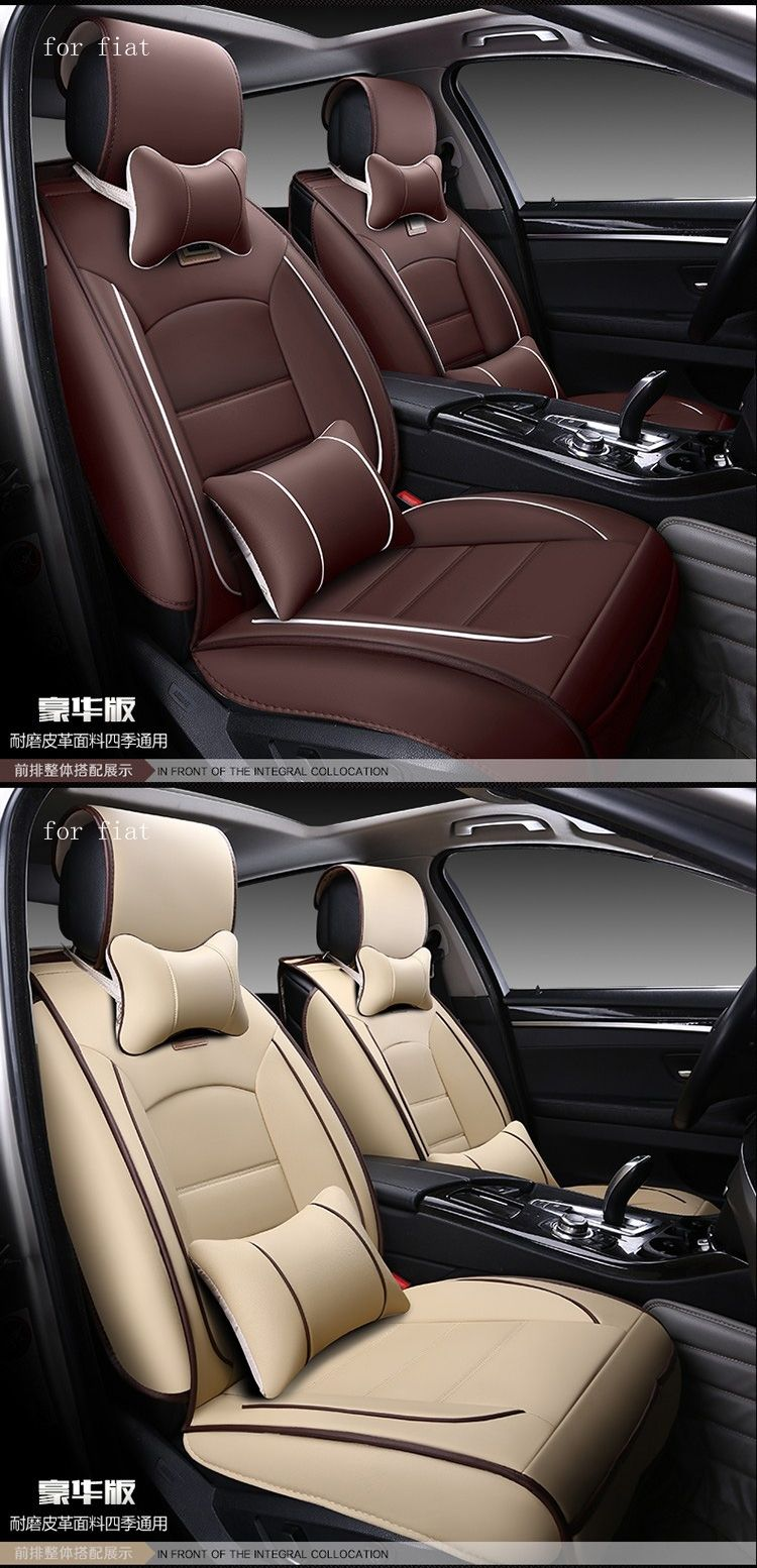 For Fiat Punto 500 Stilo Panda Coffee Red Black Waterproof Soft Pu Leather Car Seat Covers Easy Clean Frontrear Full Seats