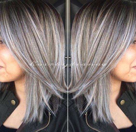 amazing grey silver highlights