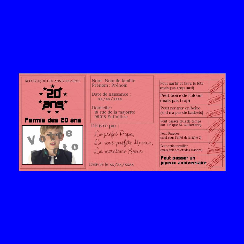 Carte D Anniversaire Faux Permis De Conduire 20 Ans A Imprimer Carte Anniversaire Carte Anniversaire A Imprimer Permis De Conduire