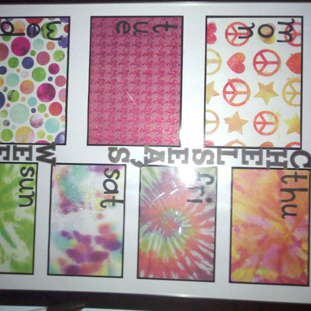wipe off calendar using pic frame and scrapbook paper