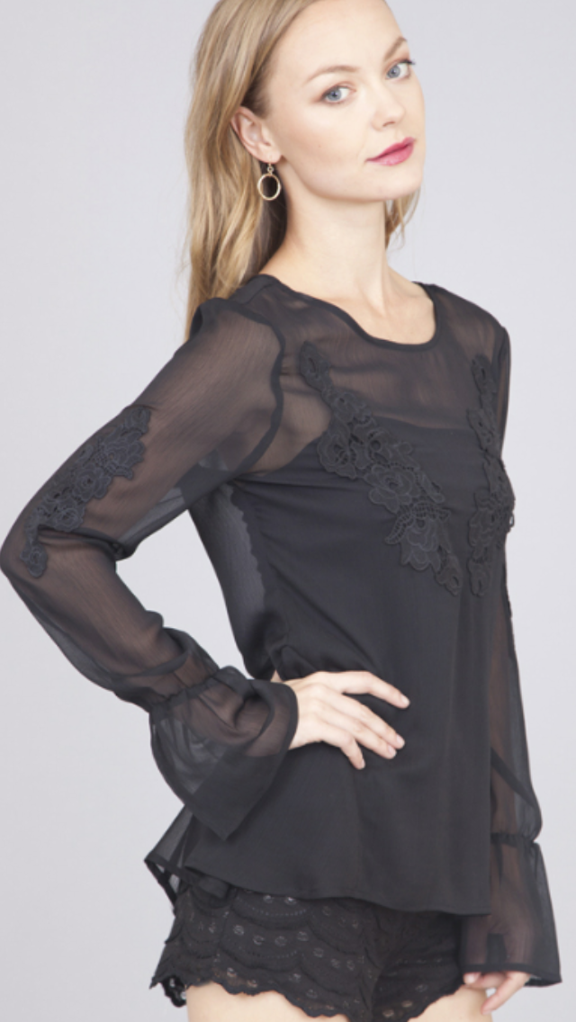 Bell Sleeve Floral Embroidered Tunic Top