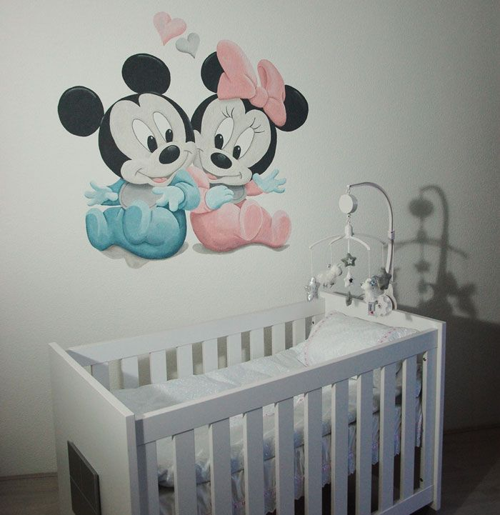 Baby Mickey Mouse en Minnie Mouse muurschildering  Disney