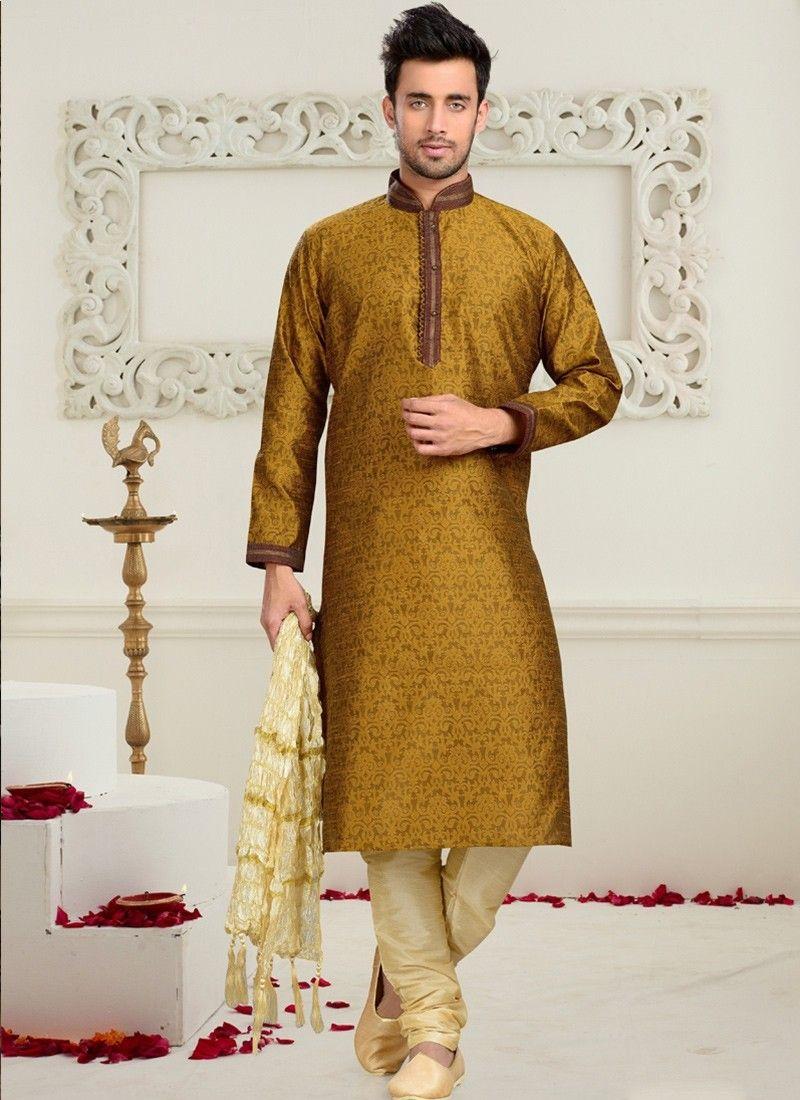 46a56abba3 Mustard Art Silk Mens Sherwani #wedding sherwani #mens wear #chennai online  #trendy designs #latest designs of dresses #new trends #dresses in online  ...