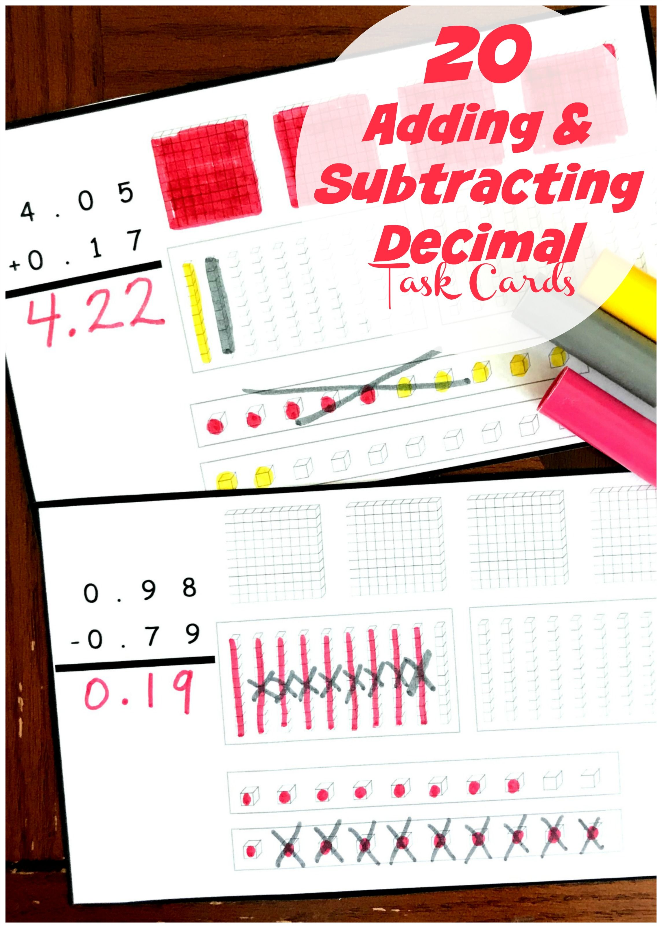 Adding And Subtracting Decimals With Base Ten Blocks Task