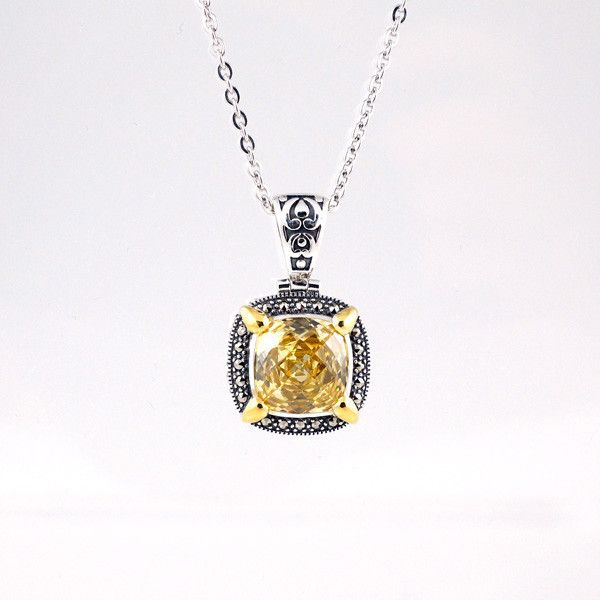 """$139.50    Pendant Set With Canary Cubic Zirconia & Marcasite ( Gold Plated ) 18"""""""