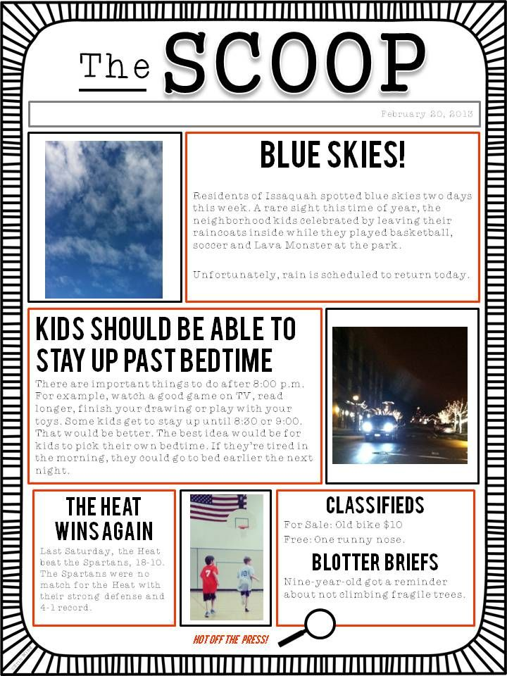 A Student Newspaper Template To Use For Class Writing Projects, Or As A  Family Project