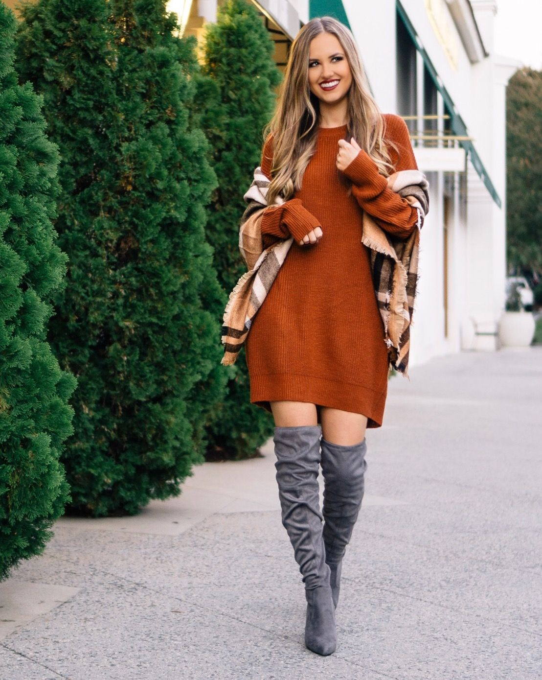 7205b6109f1 Thanksgiving Day Outfit Idea - sweater dress and over the knee boots ...