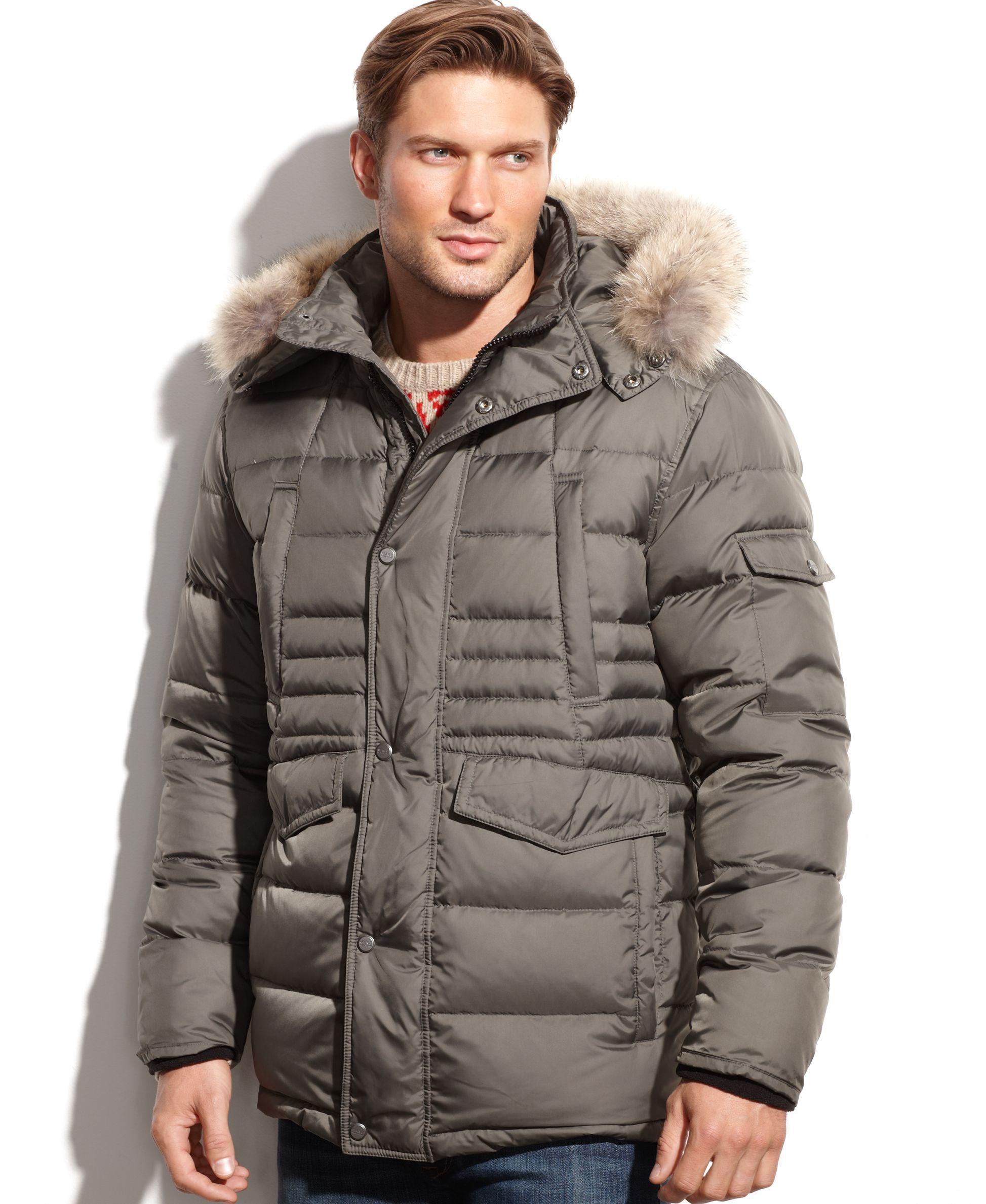 Marc New York Denton Hooded Fur Collar Down Jacket Coats Jackets Men Macy S Jackets Mens Fur Coat Long Coat Men [ 2378 x 1947 Pixel ]