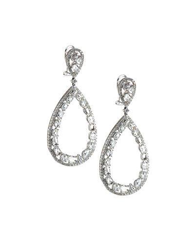 18k White Gold Diamond Teardrop Earrings 5 47tcw