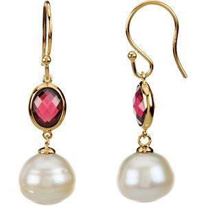 Freshwater Cultured Circle Pearl & Genuine Rhodolite Garnet Earrings by Stuller available at Jon Paul Jewelers Galt Ocean Mile Ft Lauderdale, FL