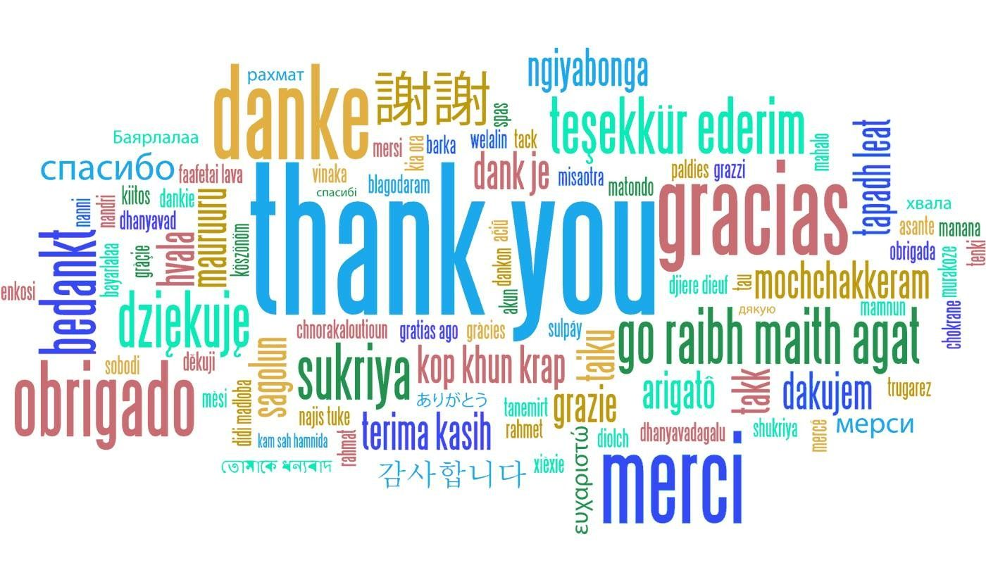 """Thank you"" in multiple languages Thank you notes, Words"