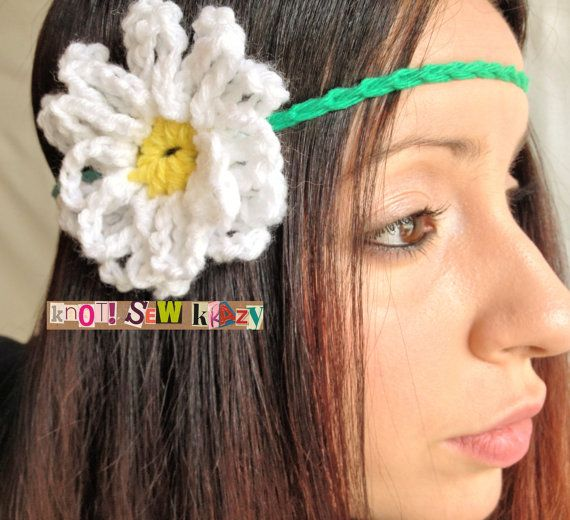 Crochet Flower Hippie Headband White and Yellow by KnotSewKrazy ...