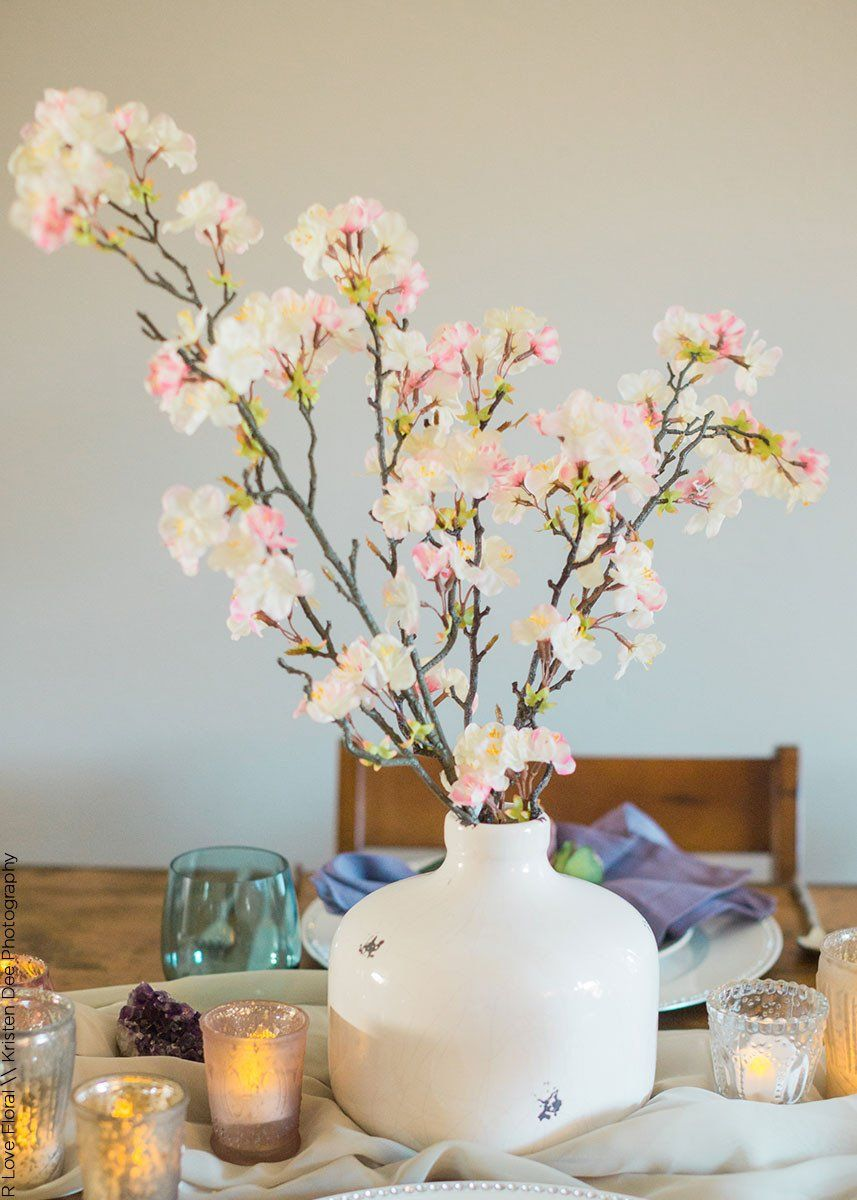 Artificial Apple Blossom Branch Spray in Pink Cream35