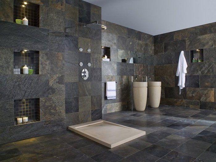 Designer Fußboden in grauer Farbe Naturstein Optik im Badezimmer - boden für badezimmer