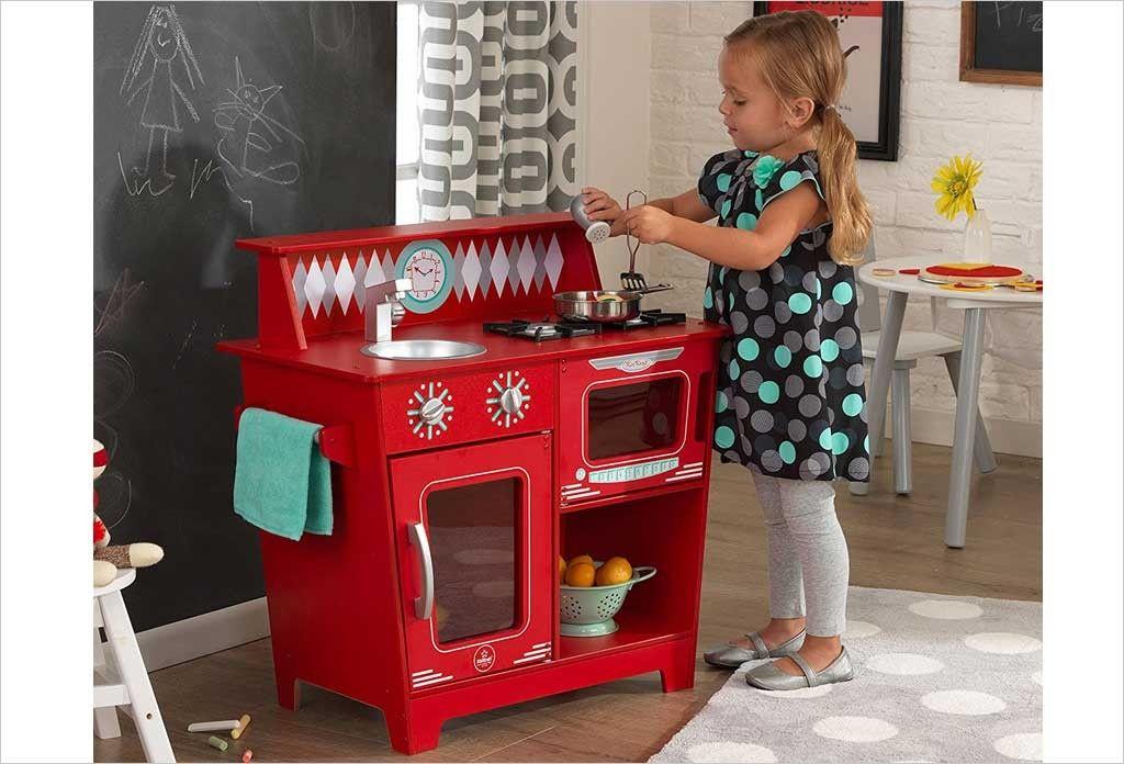 Küchenzubehör Kinderküche ~ Petite cuisine rouge en bois kidkraft 53362 classic kitchenette