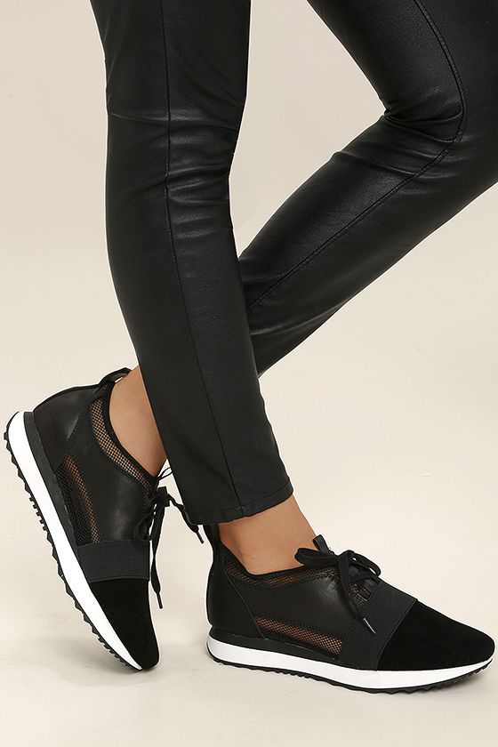 New fashion heights have been reached with the Steve Madden Altitude Black  Leather and Mesh Sneakers