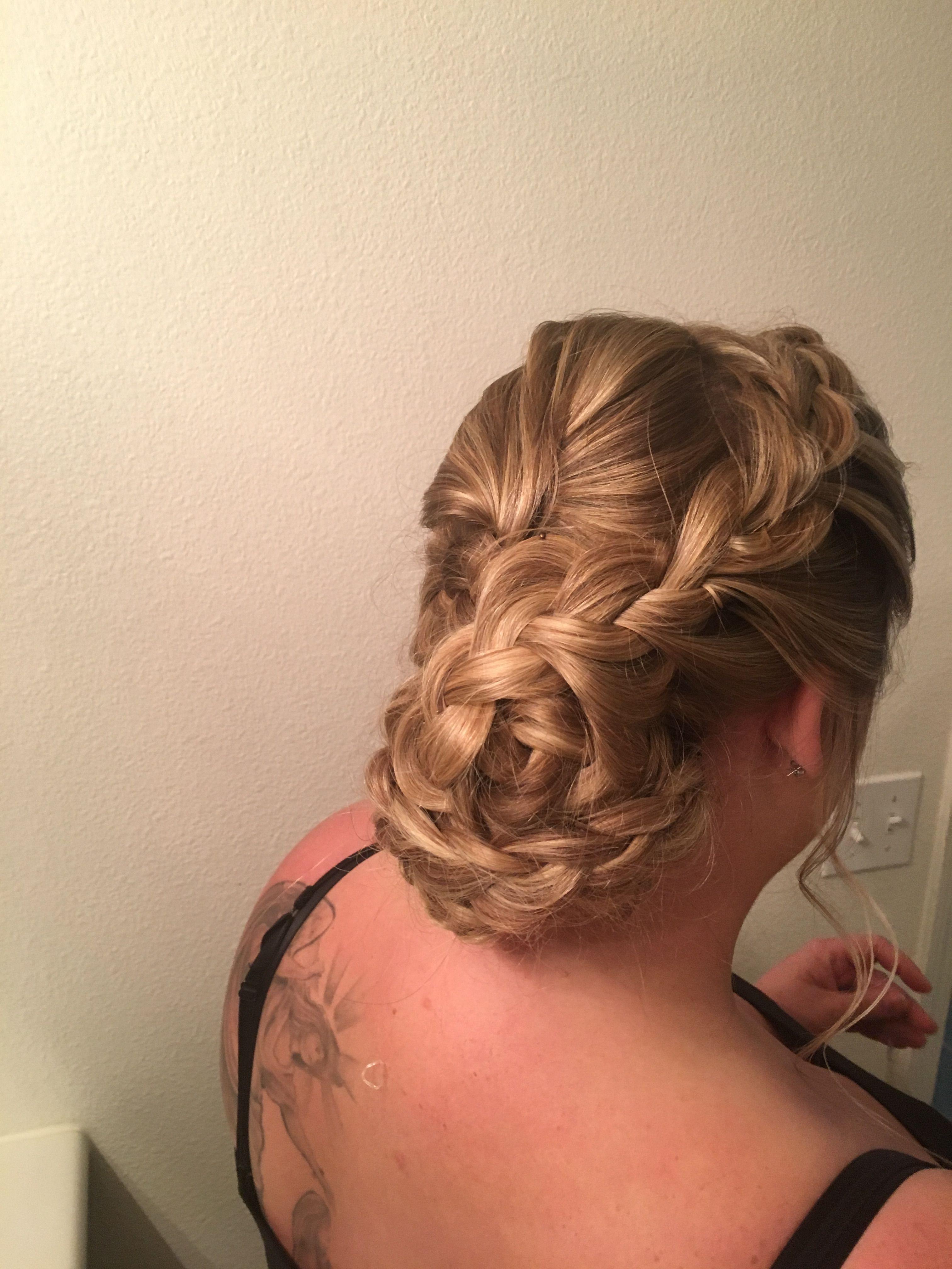 Wedding hair trial bridal braids our wedding aqua and purple