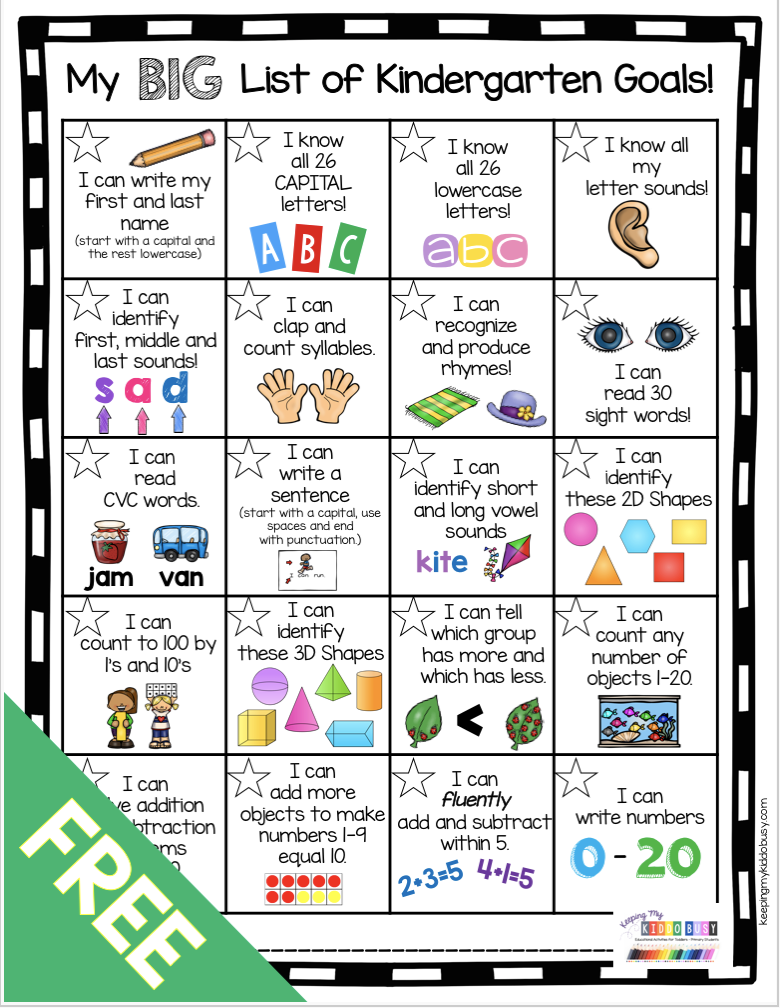 FREE Kindergarten Grade Goals Chart student goal setting  - common core standards reading and math