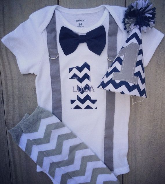 Baby Boy 1st Birthday Outfit-Navy and Gray ChevronNavy Bow Tie,Gray  Suspenders, Party Hat Leg Warmers