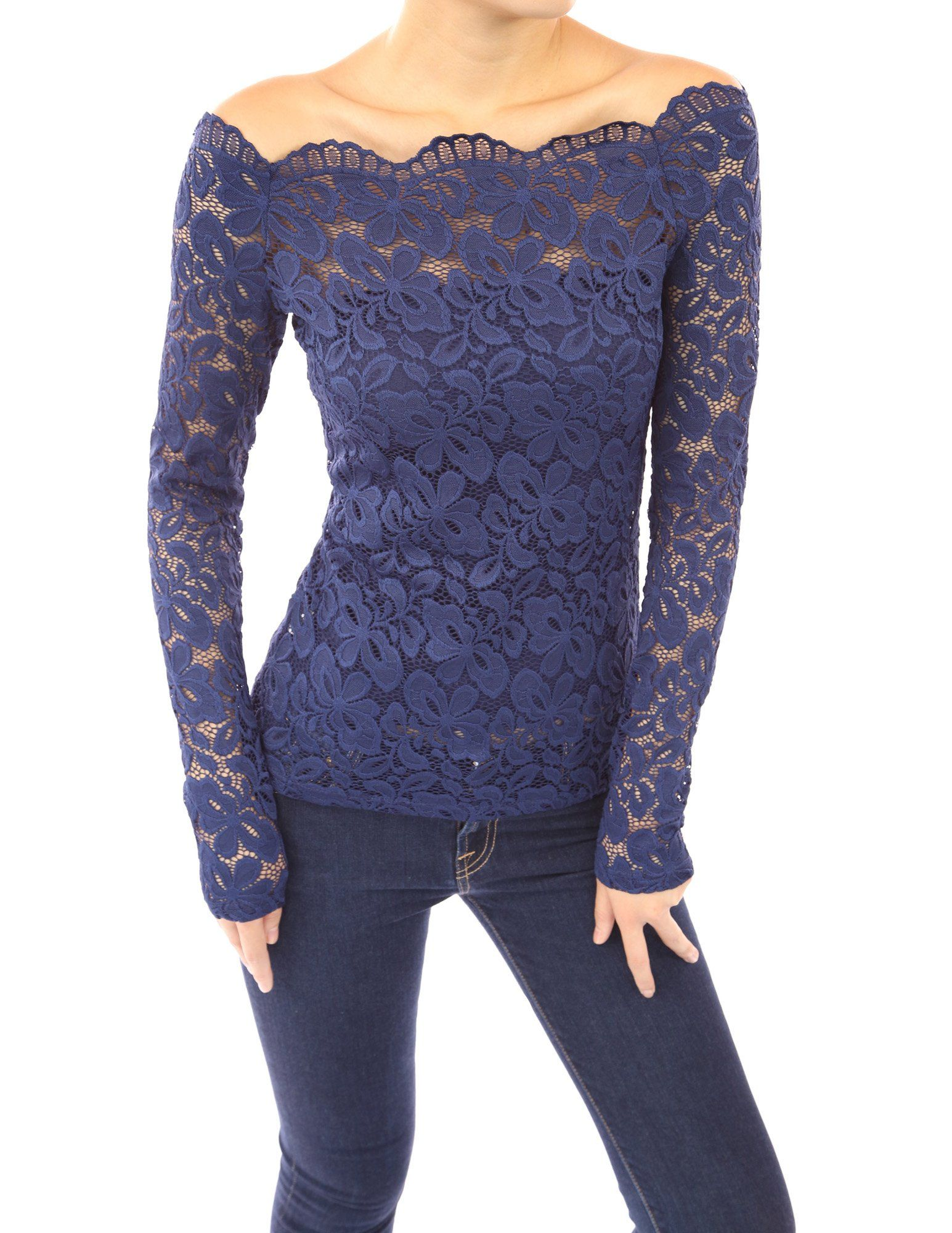 Pattyboutik Women S Floral Lace Off Shoulder Top At Amazon Women S Clothing Store Crochet Lace Shirt Navy Blue Lace Top Lace Tops